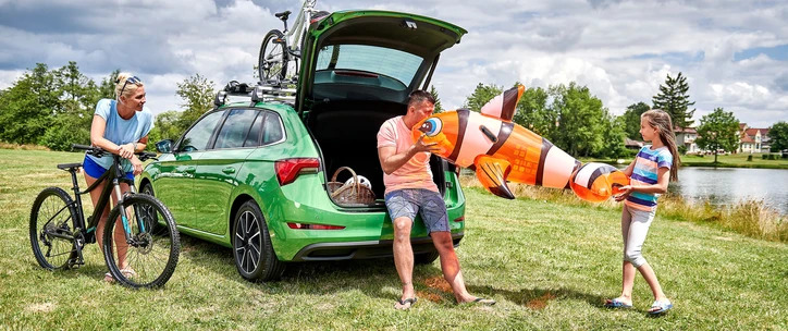 Two years warranty - Family by the lake, with bikes and green car